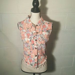English Rose - Floral Denim Vest Size Small/Medoum